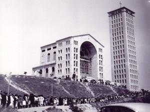 santuário nacional de aparecida durante a construção (Foto: Arquivo/Centro de Documentação e Memória)