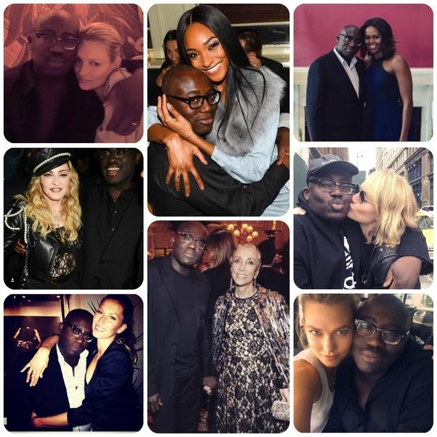 Edward Enninful posa com Kate Moss, Madonna, Gisele Bündchen, Jourdan Dunn, Franca Sozzani, Michelle Obama, Amber Valletta e Karlie Kloss (Foto: Instagram/Reprodução)