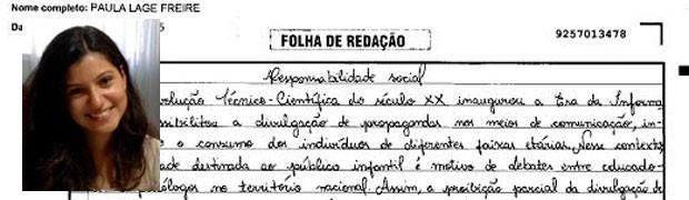 Trecho de redação de Paula Lage Freire, do Rio de Janeiro. (Foto: Reprodução/Divulgação)