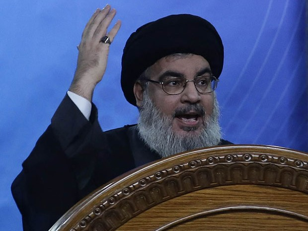 Hassan Nasrallah, líder do Hezbollah, fala durante evento em Beirute nesta sexta-feira (25) (Foto: Anwar Amro/AFP)