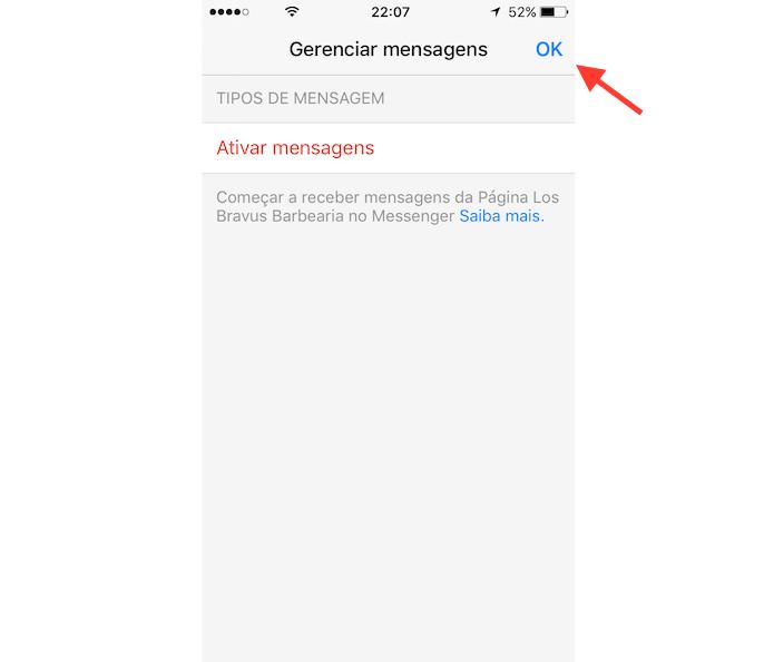 Opção para finalizar o bloqueio de novas mensagens de uma página do Facebook no Messenger (Foto: Reprodução/Marvin Costa)