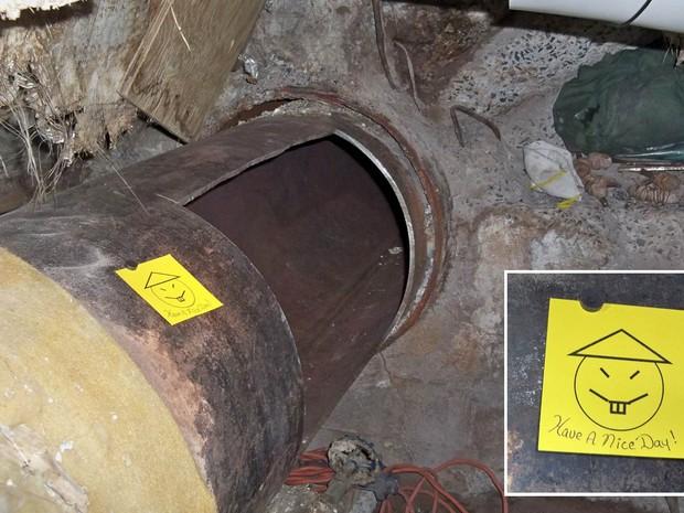 Dois presos deixaram um bilhete com a frase 'Tenham um bom dia' após fugirem através de um buraco em uma tubulação na prisão Clinton, em Dannemora, no estado americano de Nova York. A fuga ocorreu no sábado (6); as fotos foram divulgadas na noite seguinte (Foto: Reuters/Governo de NY)