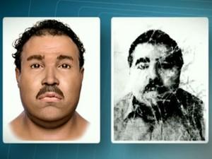 Fotos da reconstituição do rosto do corpo esquartejado (à esq.) em comparação com a do motorista (Foto: Reprodução / TV Globo)