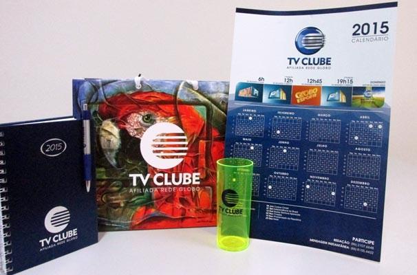 TV Clube entregou kit com saco personalizado, agenda e calendário.  (Foto: Rede Clube)