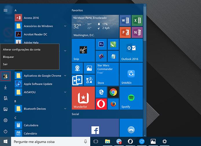 Usuário pode trocar de conta e bloquear o computador no menu Iniciar (Foto: Reprodução/Elson de Souza)