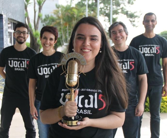 Grupo Vocal 5 venceu o quadro A Capella do Domingão do Faustão (Foto: Maicon Hinrichsen/RBS TV)