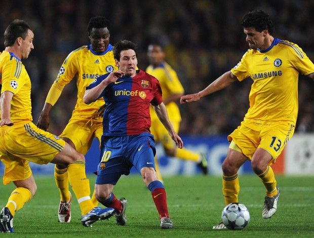 messi terry mikel ballack chelsea x barcelona 28/04/09 (Foto: Getty Images)