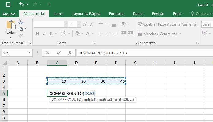 Entre com os dados para a fórmula (Foto: Reprodução/Helito Bijora)