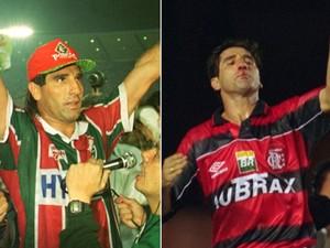 Renato em dois momentos: campeão pelo Flu, em 1995, e em ação pelo Flamengo (Foto: Editoria de Arte)