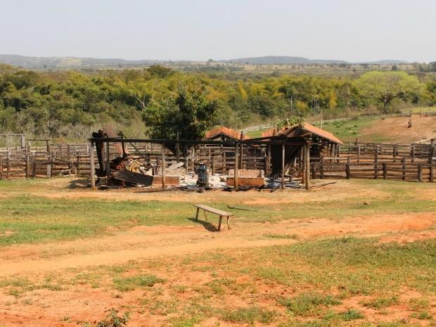 Fazenda Água Clara, que teve galpão queimado, fica na região Buriti, reivindicada pelos indígenas (Foto: Nadyenka Castro/G1 MS)