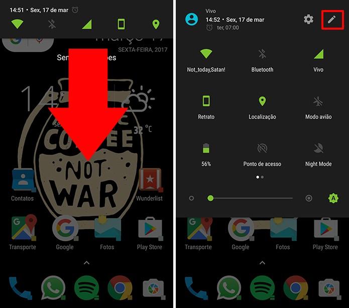 Deslize duas vezes a partir do topo da tela para abrir atalhos do Android (Foto: Reprodução/Elson de Souza)