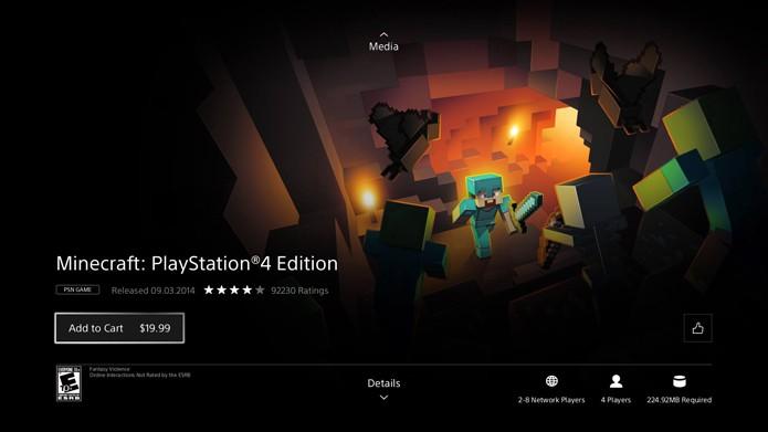 Acesse a página do Minecraft na loja do PS4 (Foto: Reprodução/Murilo Molina)