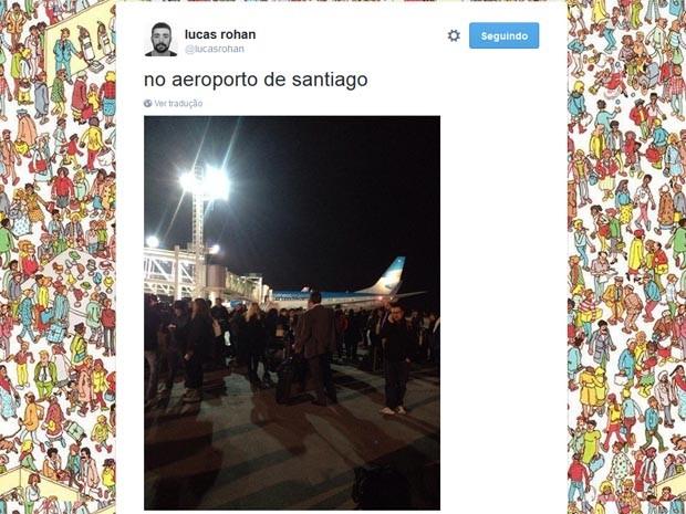 Aglomeração no aeroporto de Santiago (Foto: Reprodução/Twitter)