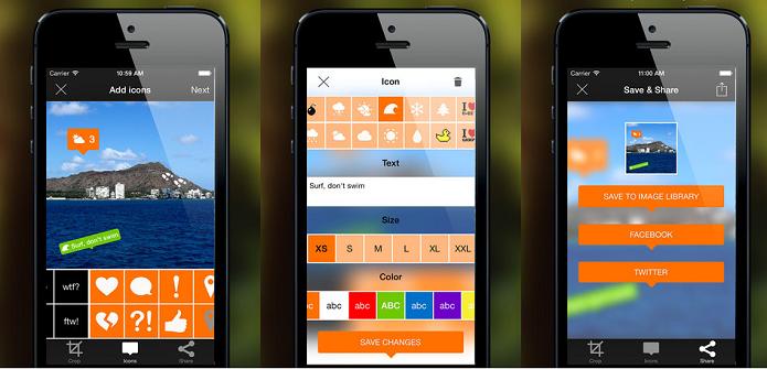 Adicione ícones de diversas cores e formatos, textos e outros elementos com Giddyology (Foto: Divulgação/AppStore)