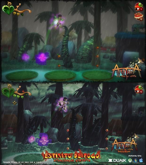 Comparativo da versão original do game brasileiro 'Aritana' com a atualização 'Espírito de fogo' (Foto: Divulgação/Duaik)