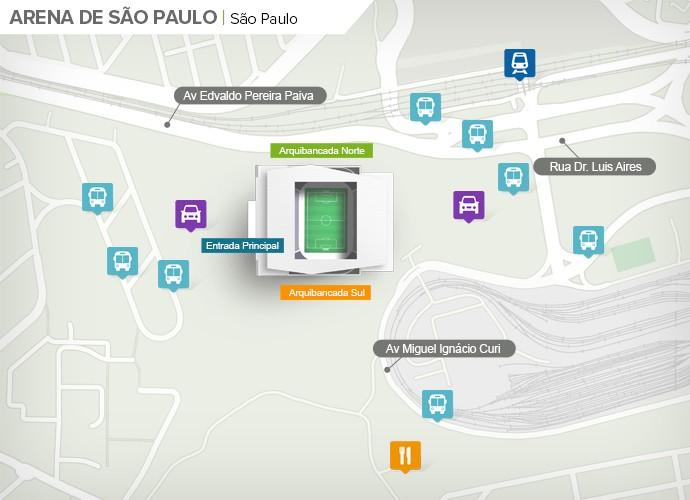 Mapa de acesso às ruas da Arena Corinthians (Foto: Google Maps / Infografia GloboEsporte.com)