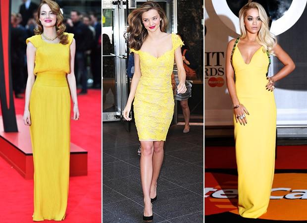 [MODA] Amarelo - Emma Stone, Miranda Kerr e Rita Ora  (Foto: Agência AFP - Agência Getty Images - Agência AFP)
