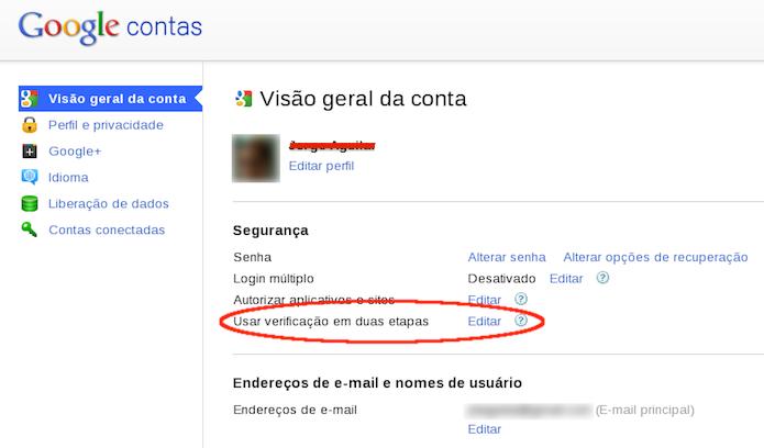 Ativando a verificação em duas etapas em uma conta Google (Foto: Reprodução/Edivaldo Brito)