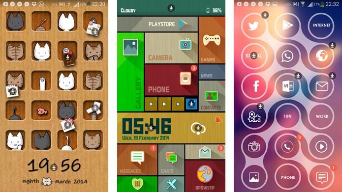 04b04895cf2 O Buzz Launcher possui vários temas gratuitos para modificar a aparência de  seu smartphone (Foto