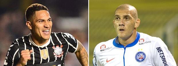 montagem Guerrero Fernandão jogo Bahia Corinthians (Foto: Editoria de Arte / Globoesporte.com)