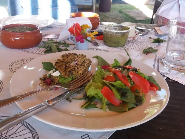 Tapioca PANC é feita com pesto de caruru, planta considerada uma praga por grandes agricultores (Foto: Hildeberto Jr./G1)