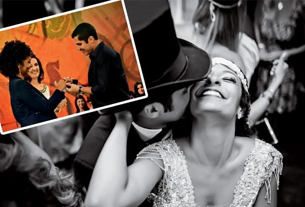 """O militar Bruno Nalbone, 33 anos, fez o pedido ao vivo no programa """"Encontro com Fátima Bernardes"""" (acima, à esq.). Acima, a festa durante o Carnaval (Foto: Marcio Monteiro / Reprodução)"""