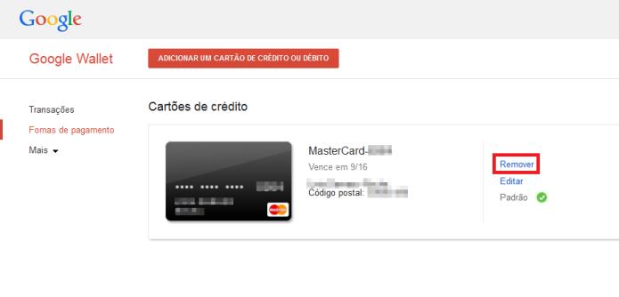 Removendo o cartão de crédito do Google Play (Foto: Reprodução/Lívia Dâmaso)