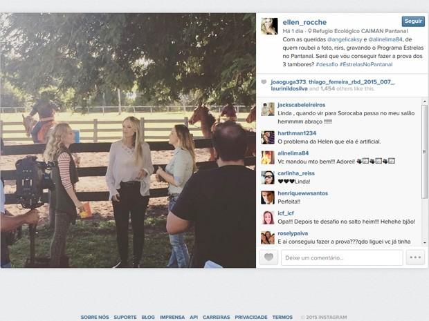 Ellen Roche postou foto gravando o programa com Angélica no Pantanal (Foto: Reprodução/Instagram)