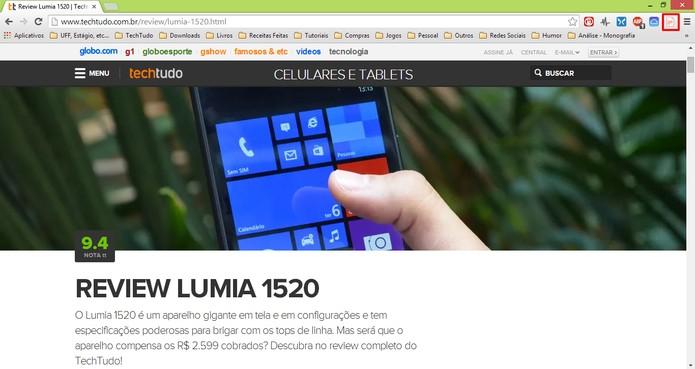 Clique no botão do Kopy para enviar endereço da página aberta no Chrome para o seu Windows Phone (Foto: Reprodução/Elson de Souza)