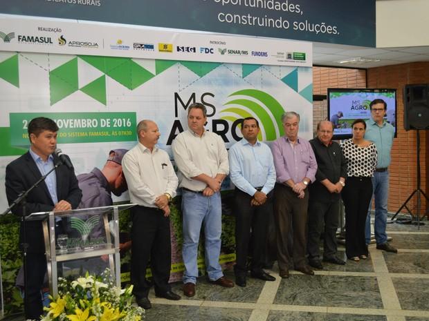 Presidente do Sistema Famasul, Mauricio Saito, no lançamento do MS Agro na manhã desta terça-feira (Foto: Anderson Viegas/G1 MS)