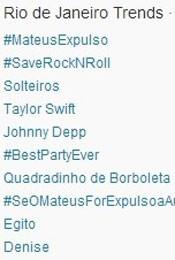 Trending Topics no Brasil às 17h10 (Foto: Reprodução/Twitter.com)