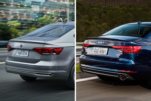 Volkswagen Virtus e Audi A4 (Foto: Autoesporte)