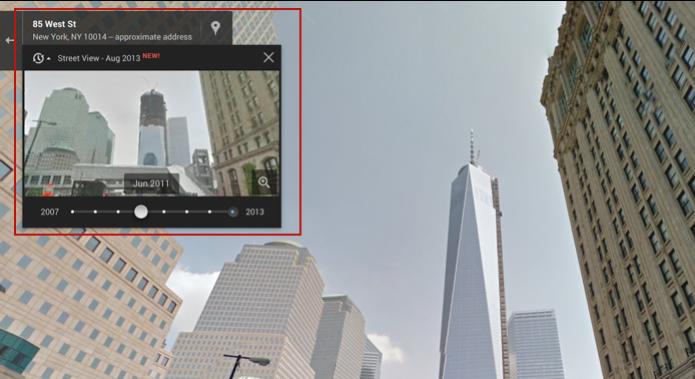 Em vermelho, opção no Google Street View para viajar no tempo (Foto: Reprodução/Google)