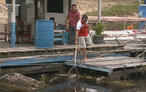 Catraieiros recolhem garrafas pet do entorno da Marina do Davi (Foto: Amazonas TV)