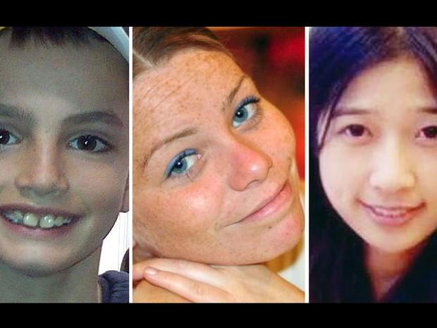 Montagem mostra as três vítimas das explosões na Maratona de Boston. Da esquerda para a direita: Martin Richard, de 8 anos, Krystle Campbell, de 29, e Lingzi Lu, de 23 (Foto: AP)