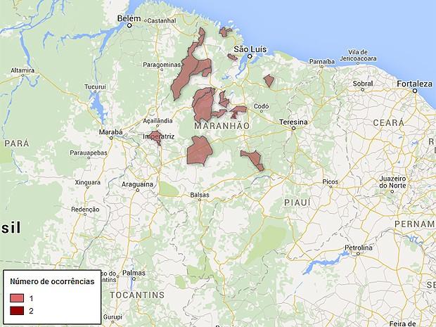 Mapa de arrombamentos a bancos no Maranhão, atualizado nesta terça-feira (17) (Foto: G1)