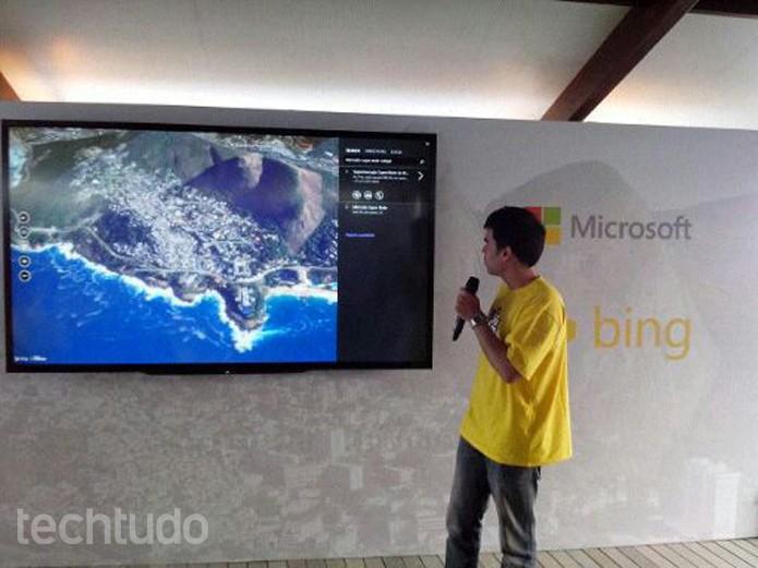 Lúcio Tinoco, idealizador do projeto Bing da Área, em evento no Morro do Vidigal (Foto: Carol Danelli/TechTudo)