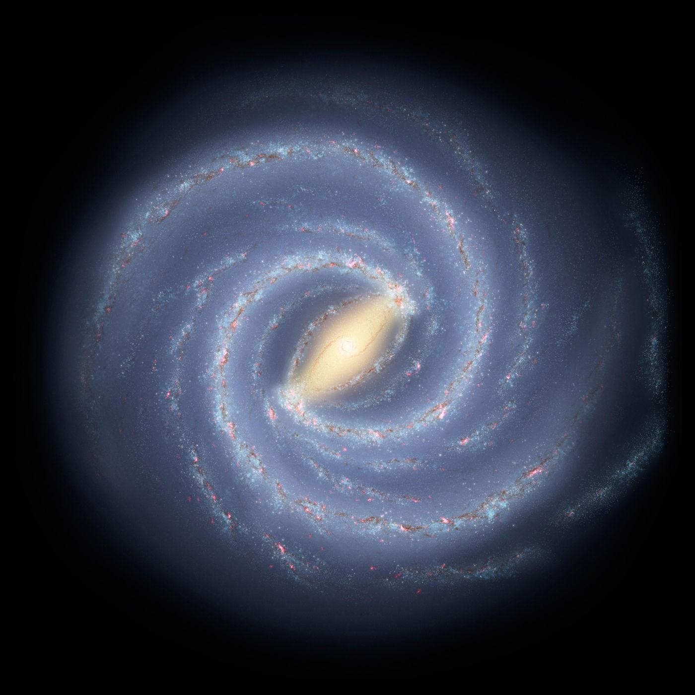 Representação da Via Láctea, com seus quatro grandes braços espirais (Foto: NASA/JPL-CALTECH)