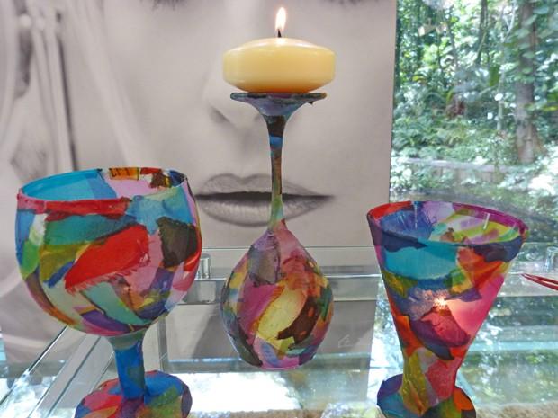 Veja como taças são transformadas em belos castiçais (Foto: Mais Você / TV Globo)