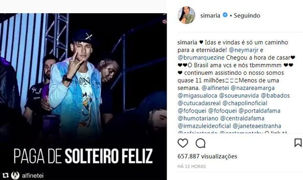 Simone e Simaria fazem post de Neymar (Foto: Reprodução)