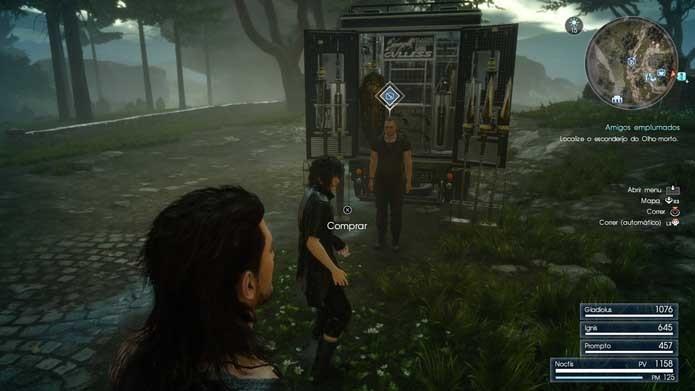 Vá até o vendedor de armas do Final Fantasy XV (Foto: Reprodução/Murilo Molina)