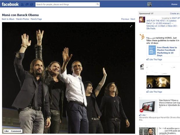 Maná em encontro em Las Vegas com Barack Obama (Foto: Reprodução/ Facebook oficial Maná)