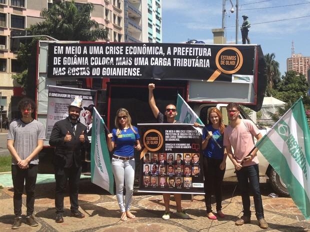 Protesto contra aumento do IPTU em Goiânia, Goiás (Foto: Vitor Santana/G1)