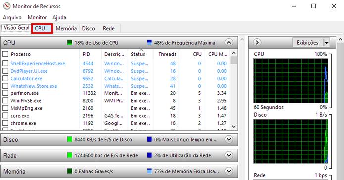 Acesse a aba CPU (Foto: Reprodução/Paulo Alves)