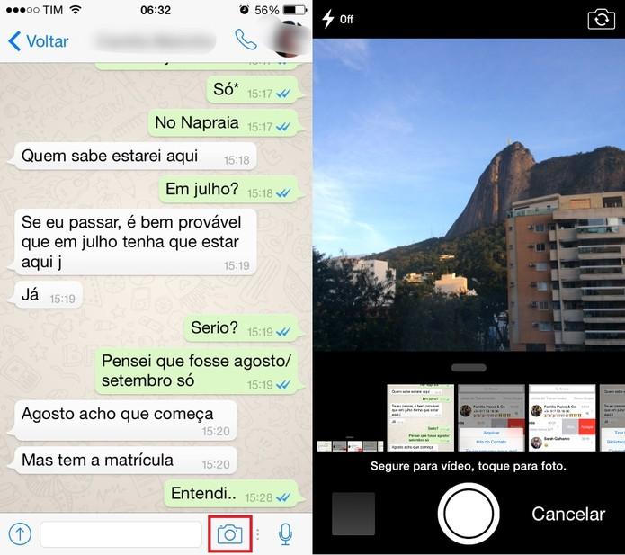 Use o atalho para a câmera do WhatsApp (Foto: Reprodução/Juliana Pixinine)