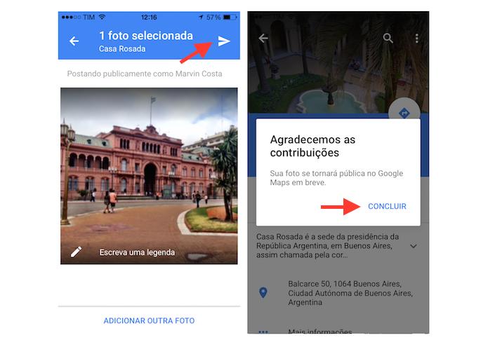 Enviando uma foto do iPhone para a página de um local no Google Maps (Foto: Reprodução/Marvin Costa)