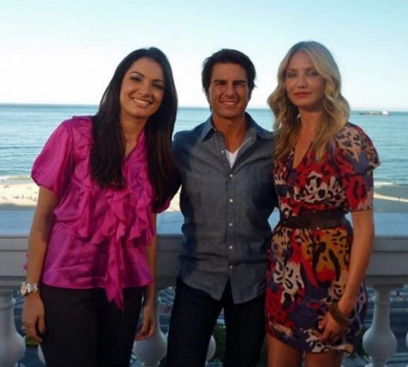 Patricia Poeta com Tom Cruise e Cameron Diaz (Foto: Reprodução/Instagram)