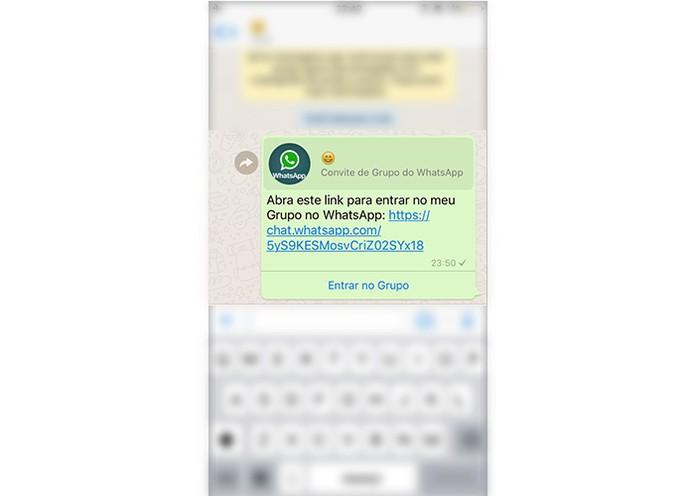 Quando enviado por WhatsApp, ja aparece a opção entrar no grupo (Foto: Reprodução/Karen Malek)