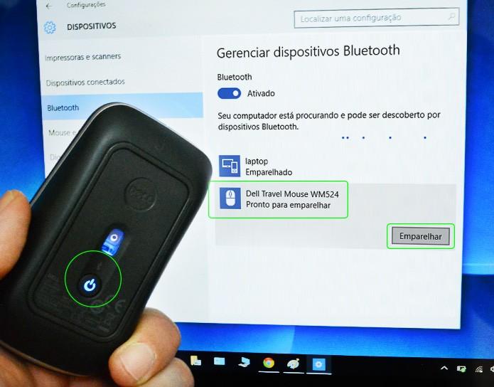 Acione o botão de emparelhamento, conforme o manual de instruções do equipamento (Foto: Reprodução/Adriano Hamaguchi)