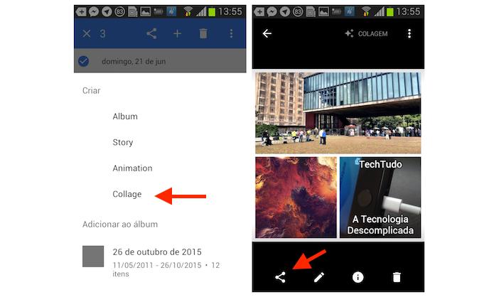 Criando uma colagem com fotos do Google Photos no Android (Foto: Reprodução/Marvin Costa)